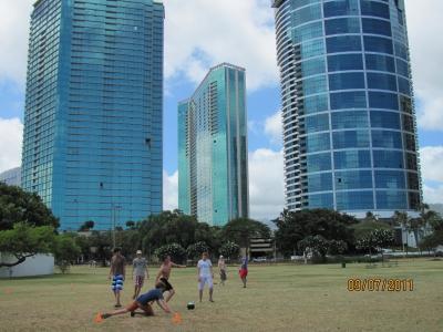 Футбол на фоне небоскребов